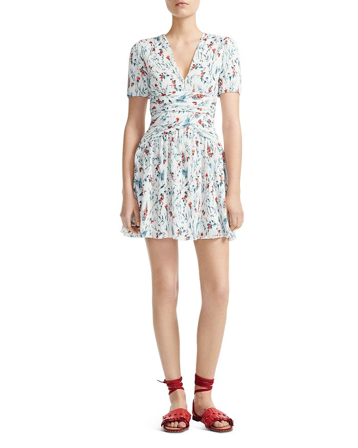 855e82970fd Maje Rasion Pleated Floral-Print Mini Dress | Bloomingdale's