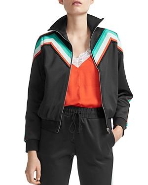 Maje Maneli Chevron-Stripe Track Jacket