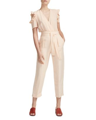 Piruize Ruffled Shoulder Jumpsuit by Maje