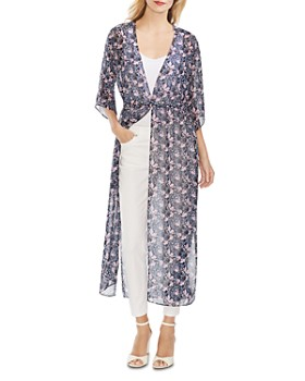 VINCE CAMUTO - Chiffon Floral-Print Duster