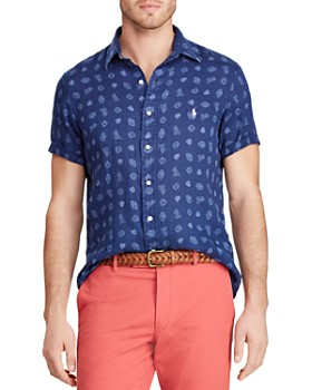 Polo Ralph Lauren - Short-Sleeve Varsity-Print Classic Fit Linen Shirt