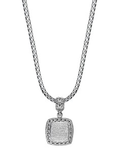 JOHN HARDY - Sterling Silver Classic Chain Diamond Medium Square Pendant