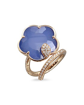 Pasquale Bruni - 18K Rose Gold Joli Agate & Lapis Ring with Champagne & White Diamonds