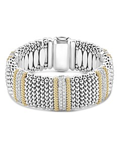 LAGOS - Sterling Silver & 18K Yellow Gold Diamond Lux Rope Bracelet with Diamonds