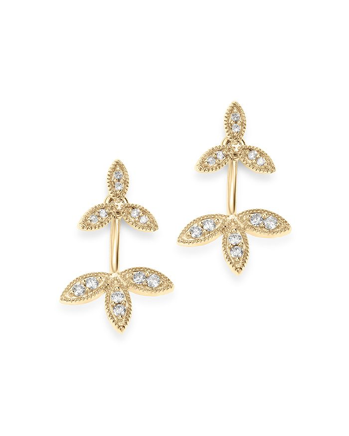 Adina Reyter 14K Yellow Gold Double Flower Diamond Drop Earrings In White/Gold