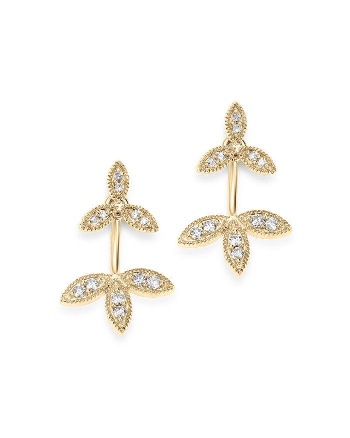 Adina Reyter 14k Yellow Gold Double Flower Diamond Drop Earrings In White/gold