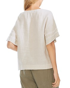 VINCE CAMUTO - Crochet-Trim Linen Top