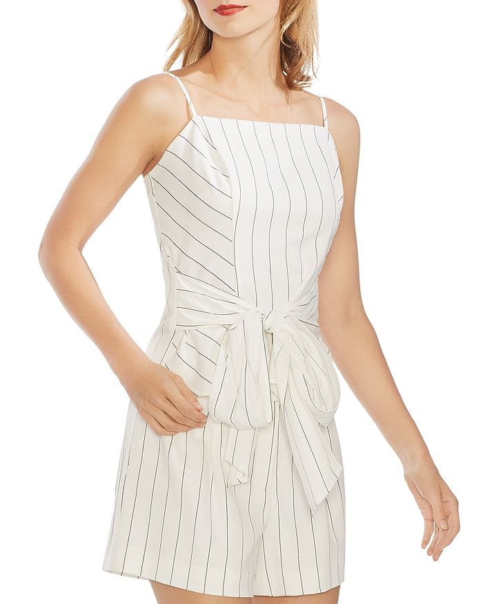 VINCE CAMUTO - Sleeveless Pinstriped Tie-Front Top