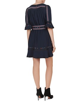 ba&sh - Plaza Embroidered Bell-Sleeve Dress