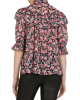 The Kooples - Candy Flowers Lurex Ruffle Blouse