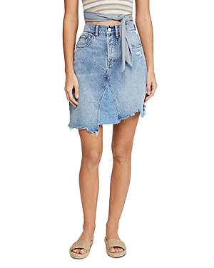 Free People Skirts GOING ROGUE ASYMMETRIC DENIM SKIRT IN WASHED DENIM