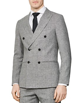 REISS - Ruck Double-Breasted Peak Texture Slim Fit Blazer