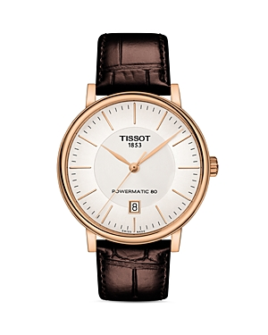 Tissot Carson Premium Powermatic 80 Brown Leather Strap Watch, 40mm-Jewelry & Accessories
