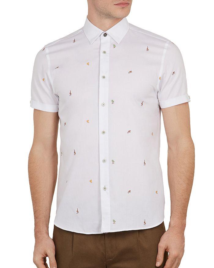51159cb0e Ted Baker - Monkie Monkey Print Fil Coup eacute  Slim Fit Shirt