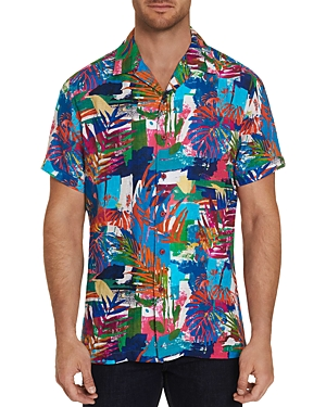 Robert Graham Himalayas Linen Short-Sleeve Abstract-Jungle Classic Fit Shirt-Men