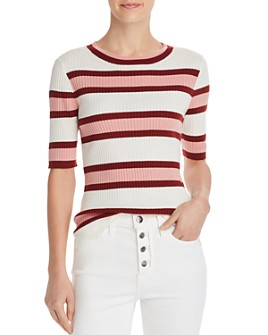 FRAME - Striped Rib-Knit Top