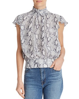 FRAME - Ruffled Snake Print Silk Top - 100% Exclusive