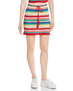 WILDFOX - Stassi Rainbow-Stripe Crochet Skirt