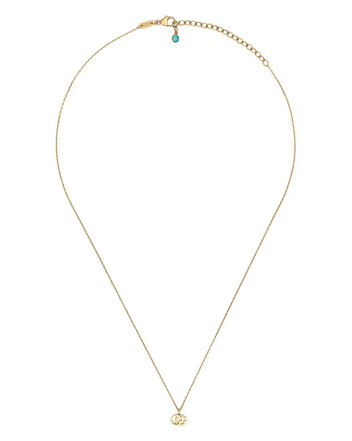 Gucci - 18K Yellow Gold Running G Blue Topaz Necklace, 16.5""