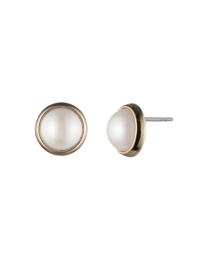 Ralph Lauren - Simulated Pearl Bezel Stud Earrings
