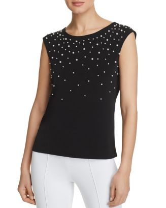 Calvin Klein Accessories Faux Pearl Embellished Top
