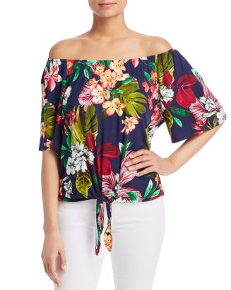 Tropical Print Off The Shoulder Top by Kim &Amp; Cami