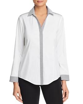 Misook - Contrast Pinstripe Shirt