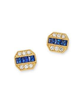 Bloomingdale's - Blue Sapphire & Diamond Milgrain Stud Earrings in 14K Yellow Gold - 100% Exclusive