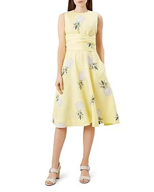 Hobbs London Twitchill Tie-Waist Pineapple Print Dress