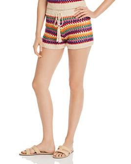 AQUA - Rainbow-Stripe Crochet Shorts - 100% Exclusive