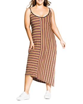 City Chic Plus - Sleeveless Striped Ribbed Dress