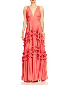 d7ad52f999c HALSTON HERITAGE - Pleated Ruffle-Trimmed Gown ...
