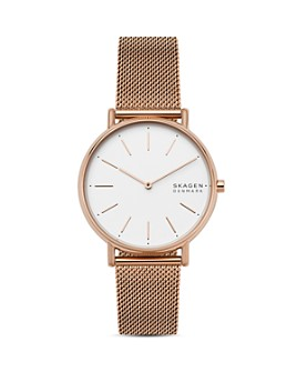 Skagen - Signatur Rose Gold-Tone Mesh Bracelet Watch, 38mm