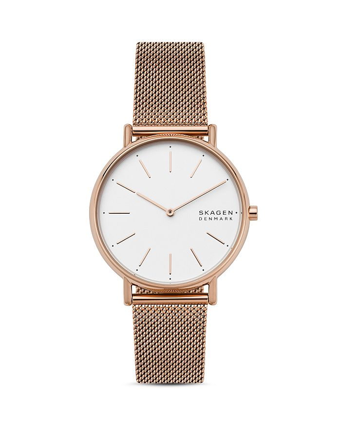 Skagen SIGNATUR ROSE GOLD-TONE MESH BRACELET WATCH, 38MM