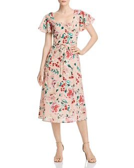 Band of Gypsies - Rose Floral-Print Midi Dress