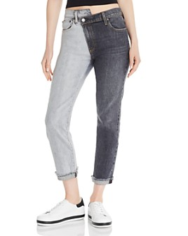 Alice and Olivia - Amazing Asymmetric Two-Tone Ankle Boyfriend Jeans in Double Vision Black