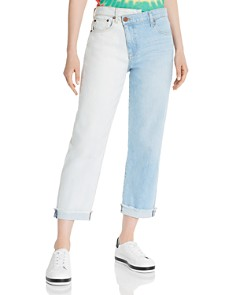Alice and Olivia - Amazing Asymmetric Two-Tone Slim Straight-Leg Jeans in Spring Personality