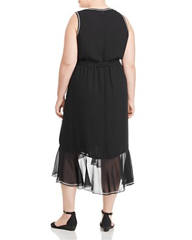 VINCE CAMUTO Plus - Embroidery-Trimmed Midi Dress