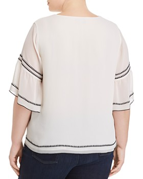 VINCE CAMUTO Plus - Embroidery-Trimmed Bell-Sleeve Blouse
