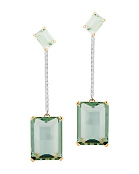 MATEO - 14K Yellow Gold Diamond & Green Amethyst Drop Earrings