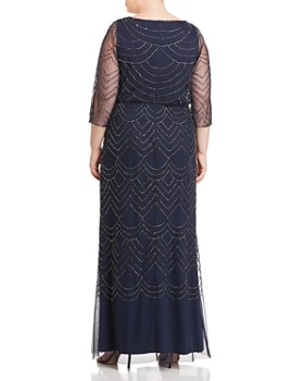 Adrianna Papell Plus - Beaded Mesh-Detail Maxi Dress