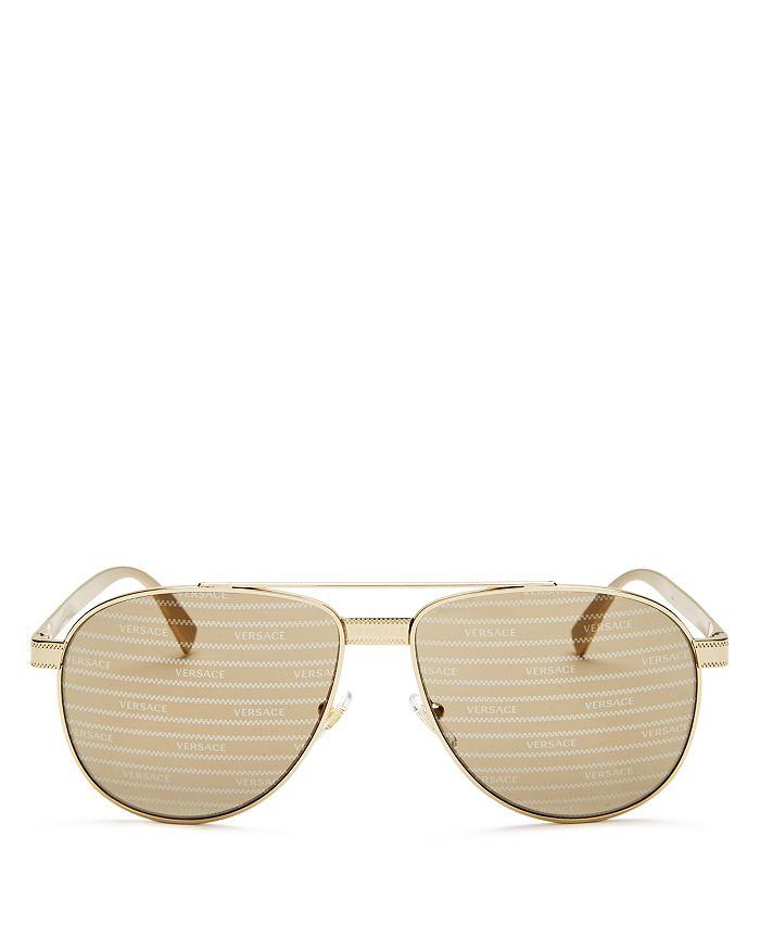 Versace - Unisex Brow Bar Aviator Sunglasses, 58mm
