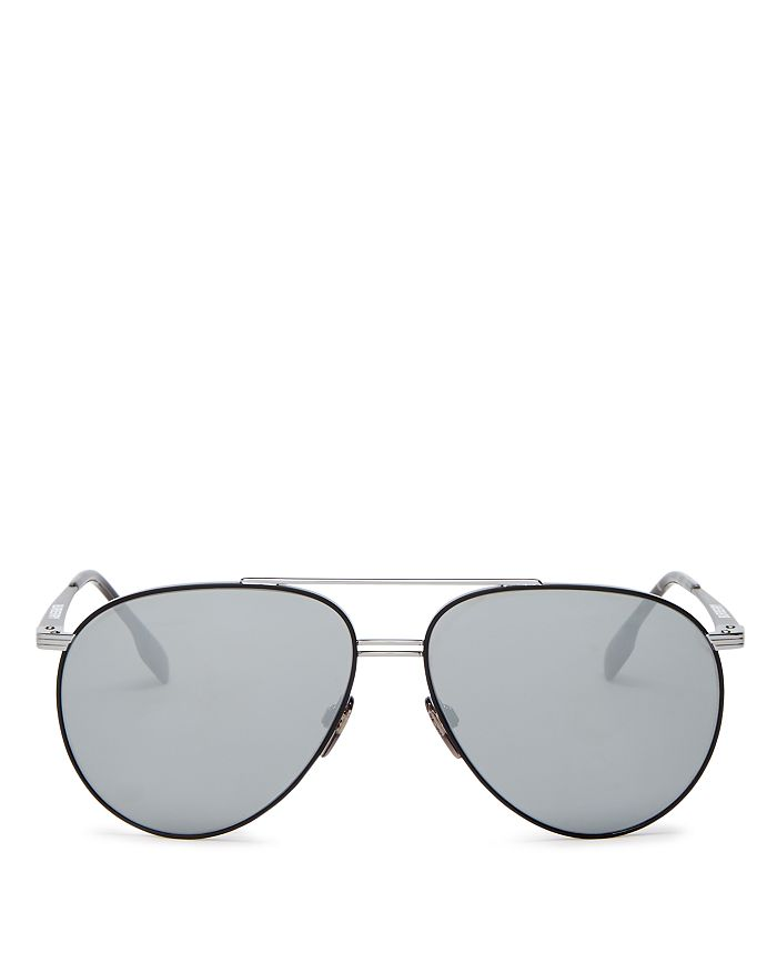 Burberry Men's Brow Bar Aviator Sunglasses, 60Mm In Black