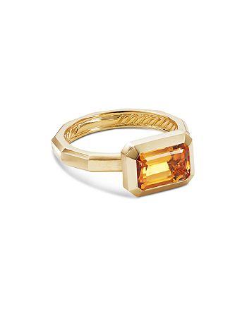 David Yurman - 18K Yellow Gold Novella Ring with Madeira Citrine