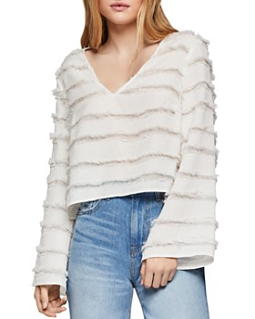 3fd17856a50 BCBGENERATION - Fringed Striped Top ...