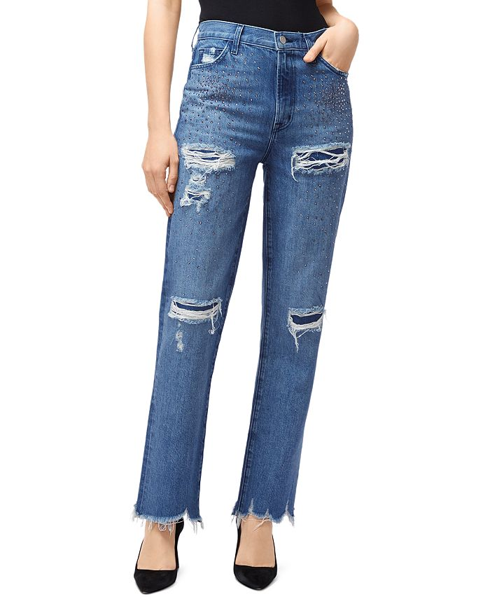 J Brand - Jules High-Rise Straight Ankle Jeans in Indigo Adorned