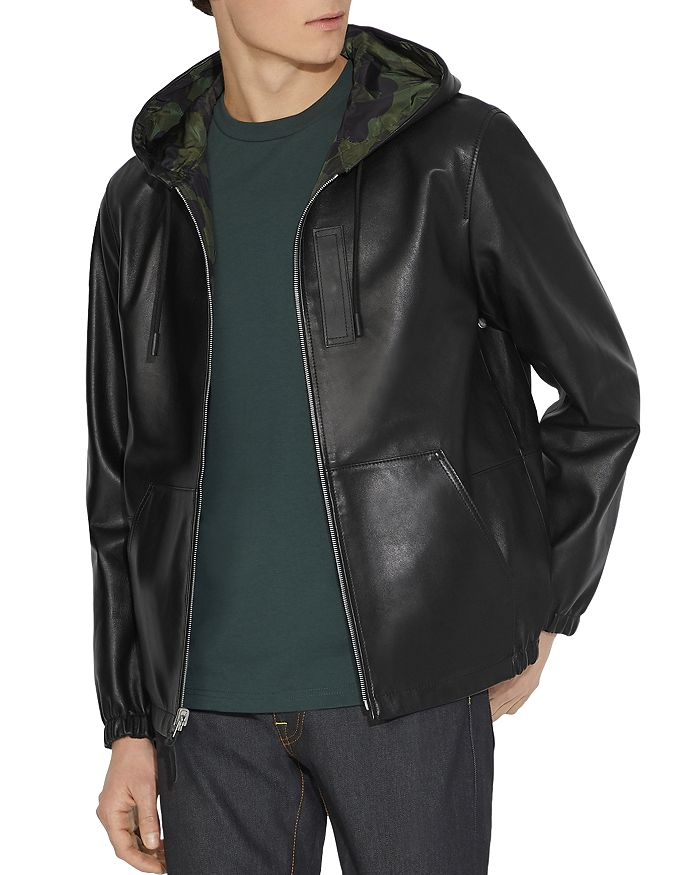 COACH - Hooded Reversible Leather Trainer Jacket