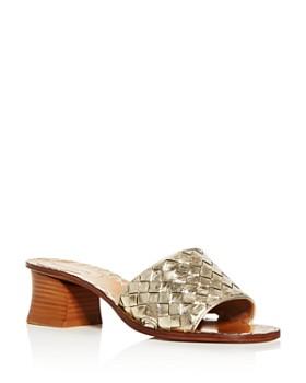 Bottega Veneta - Women's Woven Block-Heel Slide Sandals