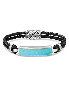 David Yurman - Sterling Silver & Leather Exotic Stone Bar Station Bracelet with American Turquoise