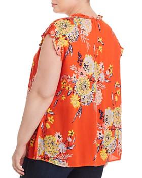 Daniel Rainn Plus - Floral-Print Cap-Sleeve Blouse